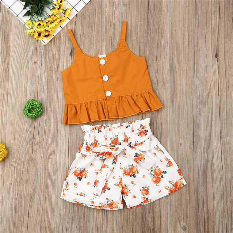 Baby Girl: Vest Floral Ensemble