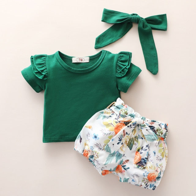 Baby Girl: Ruffle Short Sleeve 2 PC Outfit