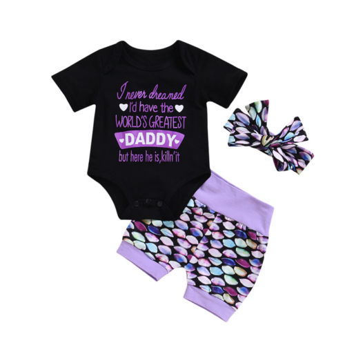 Baby Girl: Mermaid Print Romper