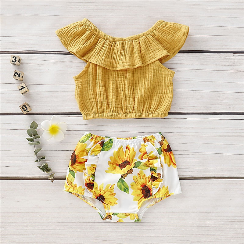 Baby Girl: Off the Shoulder Sunflower Print