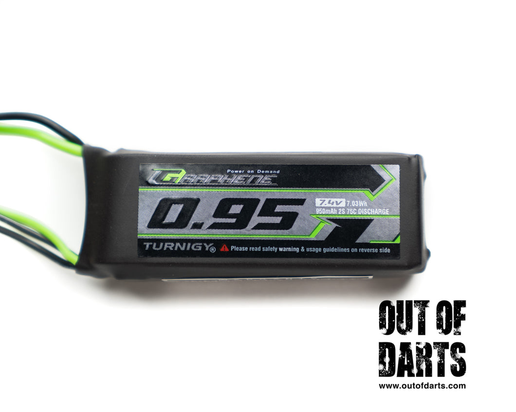 Nerf mod Turnigy Graphene PANTHER 2s 950mAh 75c LiPO pack (JST-SYP-2P connector) - Out of Darts