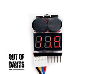 Nerf mod LiPO Voltage Alarm #3 with LED Display - for safe operation (Balance port connector) - Out of Darts