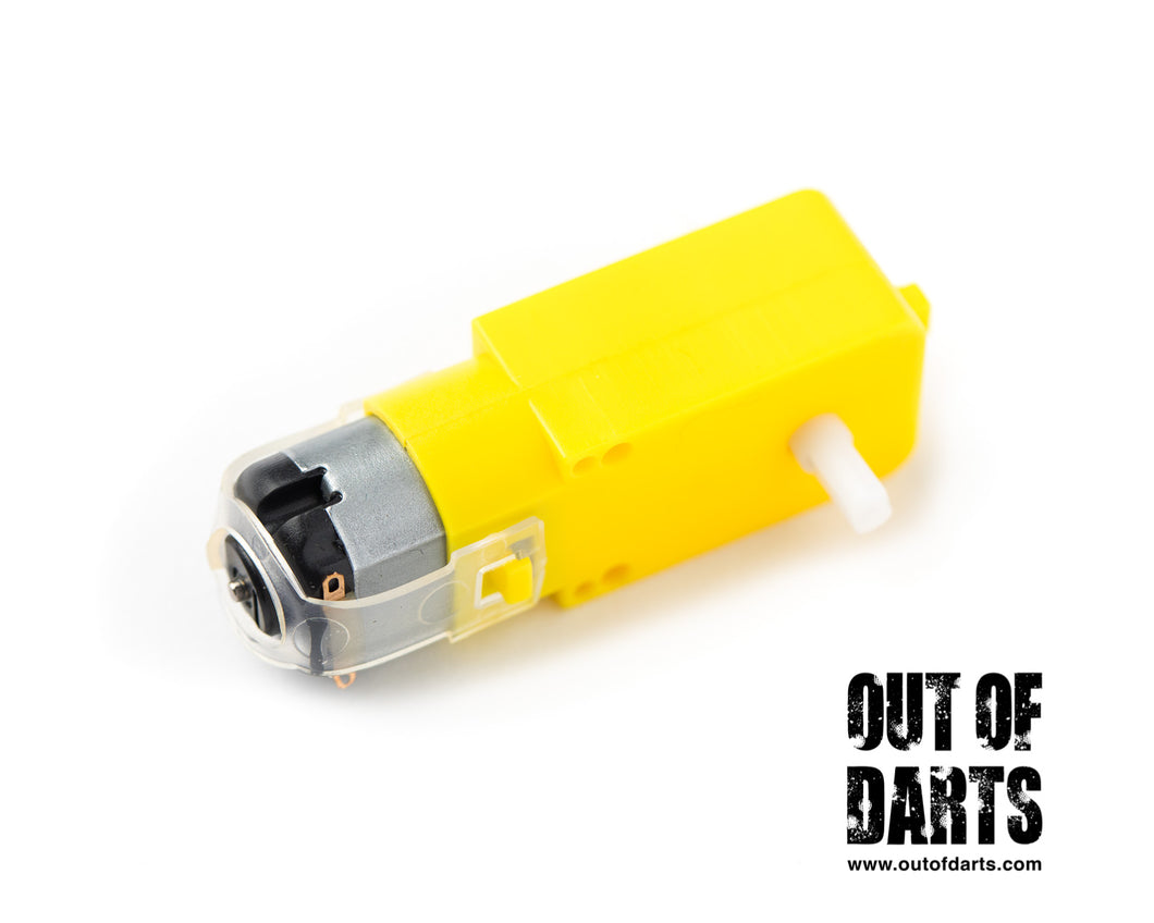 Nerf mod Plastic gear motor Yellow 3-6V Dual axis (works on 12v for light duty) - Out of Darts