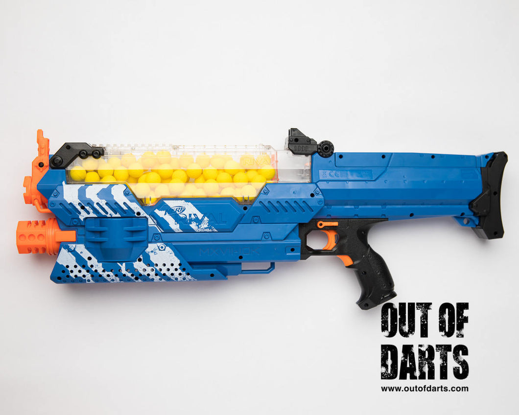 Nerf Rival Nemesis Modded for 3s, 16AWG, Custom switch plate, 21A switches (Brand new mod) Battery NOT included.