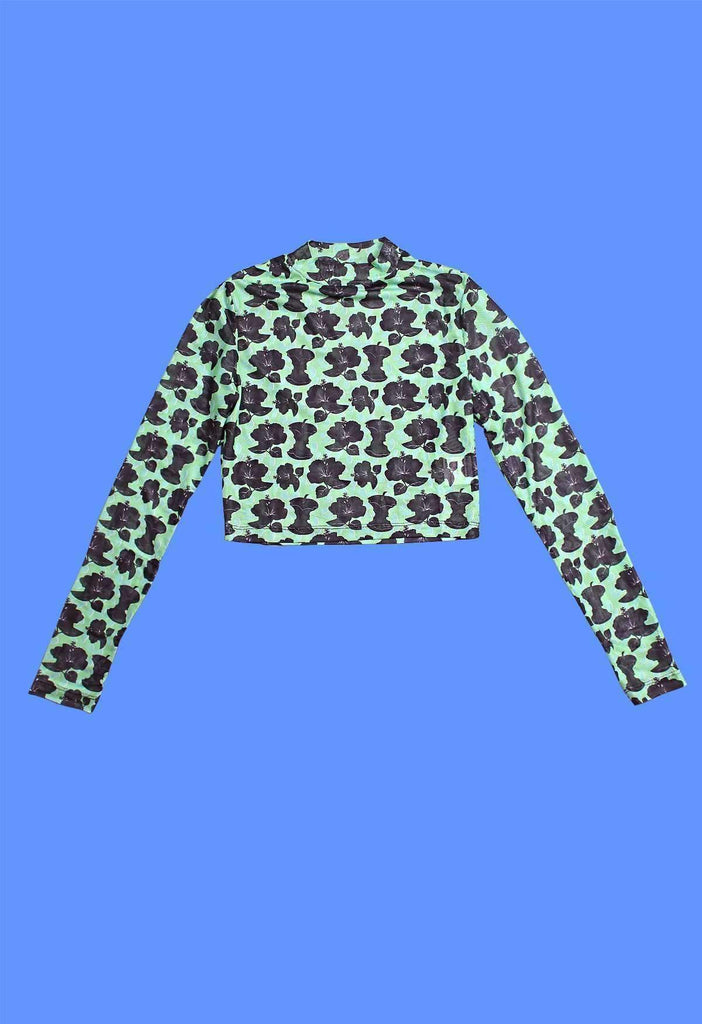 Apple Core Hawaiian Print Mesh Long Sleeve Crop Top
