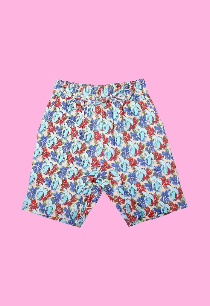 Banana Dolphin Print Drawstring Denim Shorts