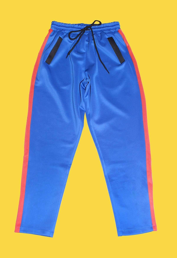 Blue and Red Colour Block Track Pants