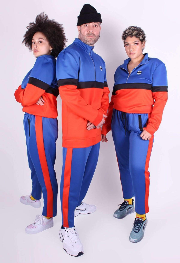 Blue and Red Colour Block Tracksuit Top