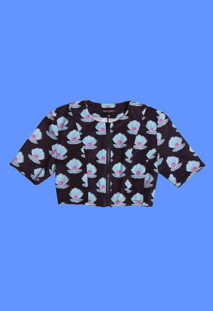 Clam Dunk Print Zip Panel Crop