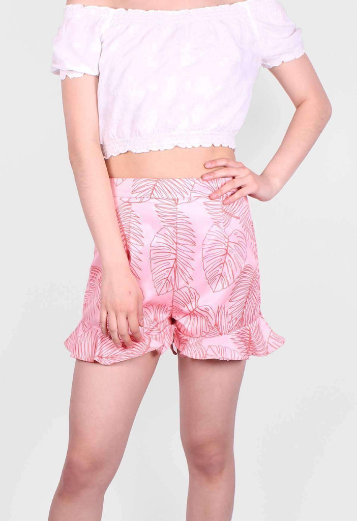 Coral Palm Ruffle Shorts- Sample