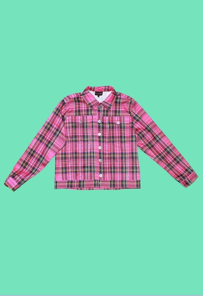 Cosmic Plaid Denim Jacket