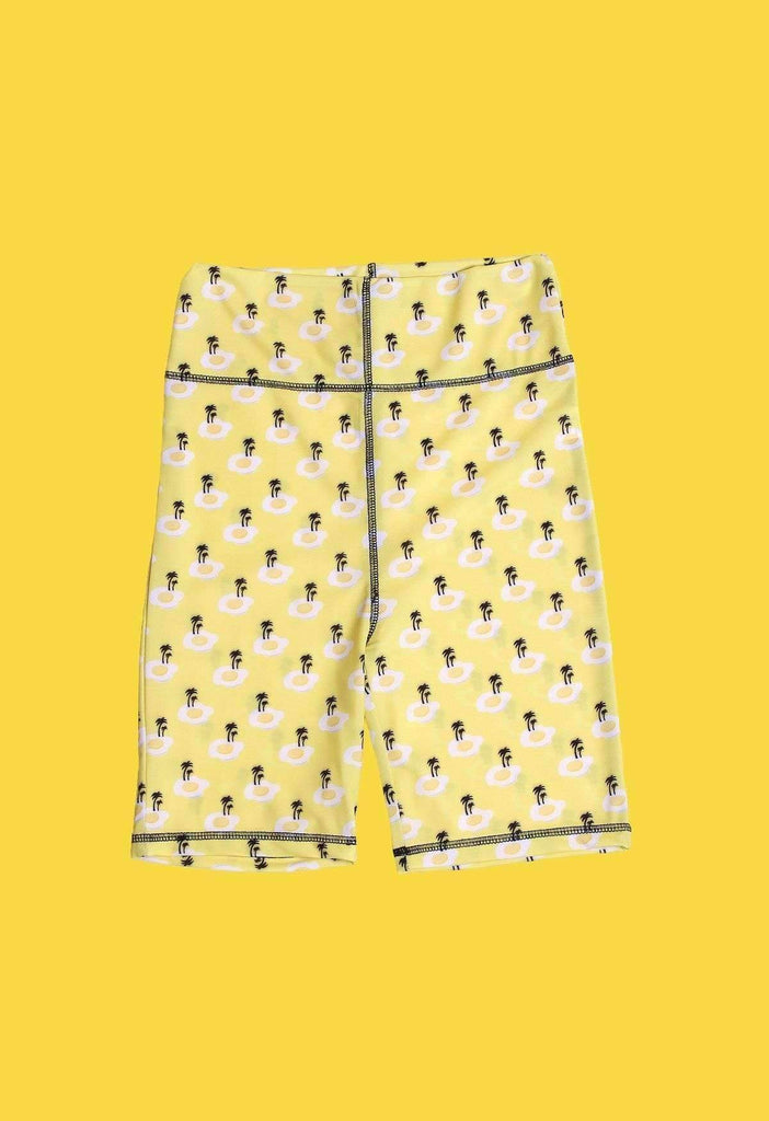 Fried Egg Island Print Bike Shorts