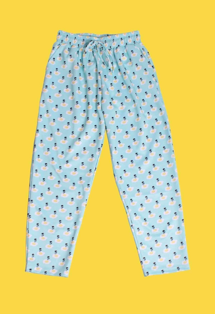Fried Egg Island Print Drawstring Trousers