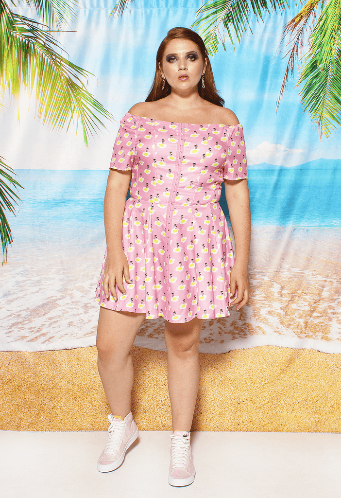 Fried Egg Island Print Off-The-Shoulder Dress