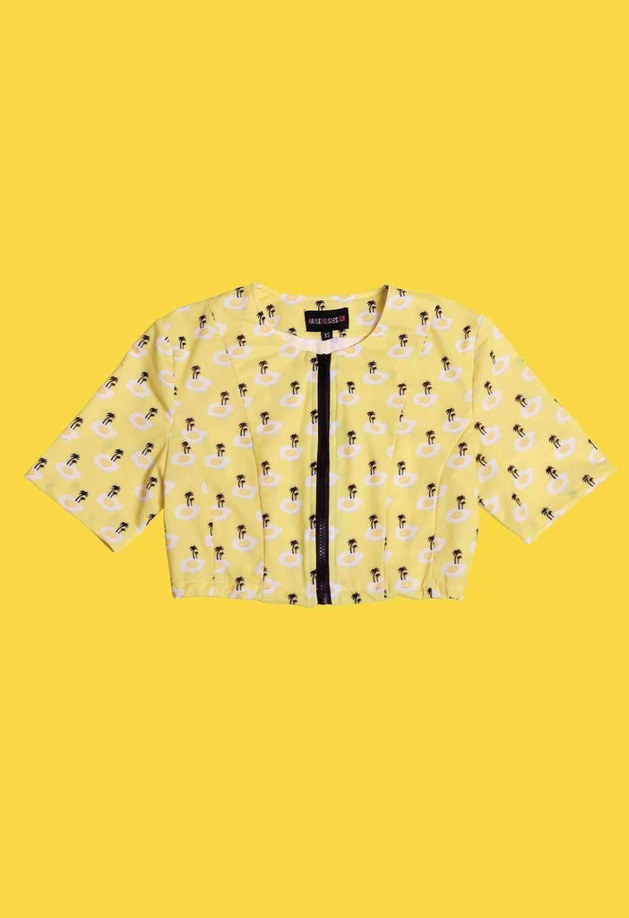 Fried Egg Island Print Zip Panel Crop