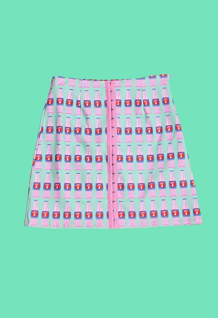 Mushroom Cola Bottle Print Denim A Line Skirt