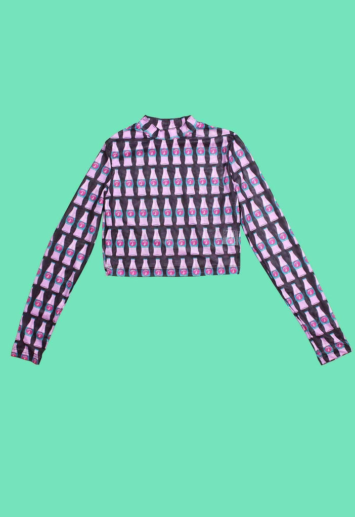 Mushroom Cola Bottle Print Mesh Long Sleeve Crop Top