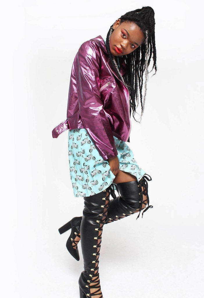 Oil Slick Purple Metallic Moto Jacket