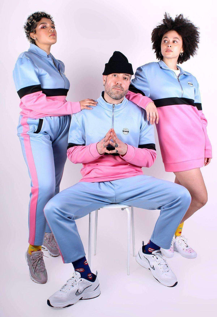 Pink and Blue Colour Block Track Pants
