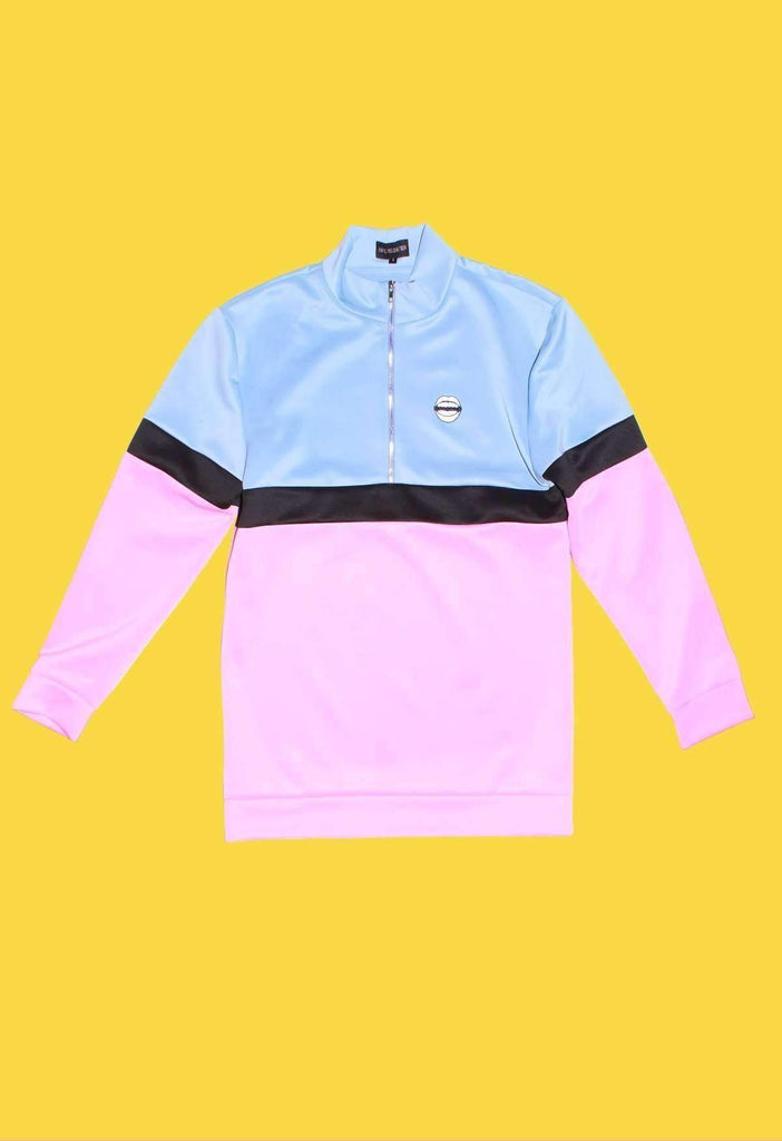 Pink and Blue Colour Block Tracksuit Top