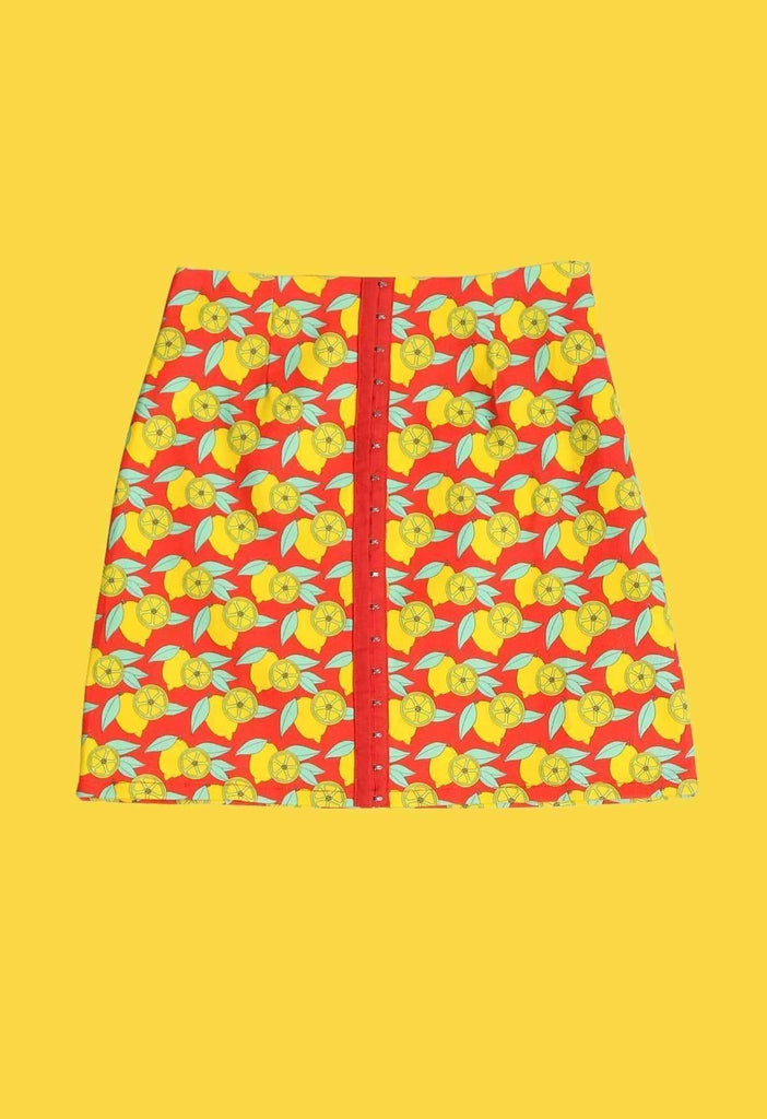 Red Lemon Spoke Print Denim A Line Skirt