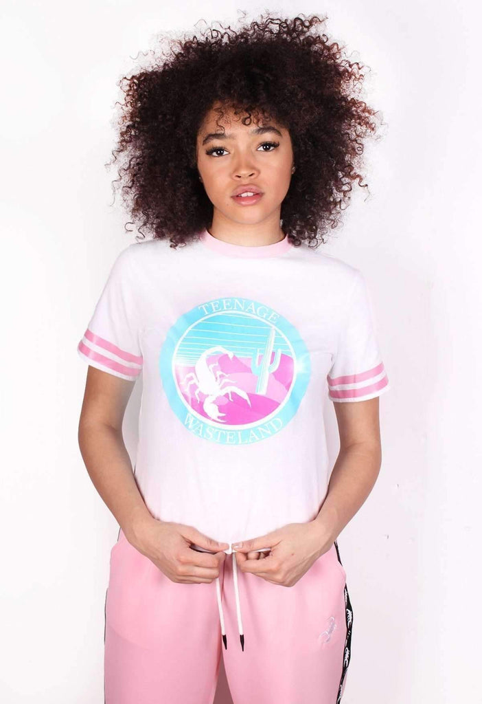 White Teenage Wasteland Crop Logo T-Shirt