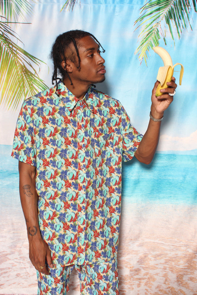 Banana Dolphin Print Button Up Shirt