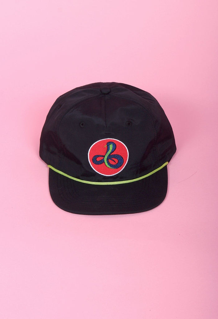 Black Snake Nylon Snapback Hat