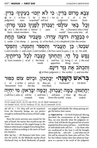 ArtScroll Interlinear Machzor Rosh Hashanah & Yom Kippur - Hebrew English - 2 Volume Set - Yerushalayim Dark Brown Leather- Ashkenaz- Full Size