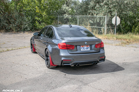14-18 F80 BMW M3 featuring Rally Style flaps in red by Rokblokz