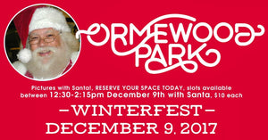 RESCHEDULED for 10/16 DUE TO SNOW Ormewood Park WINTERFEST 12/9/17