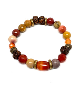 Mixed Gemstone Fire Bracelet Red