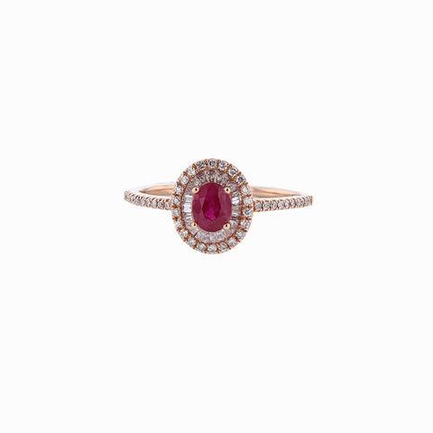 Rose Gold Ruby and Diamond Dainty Cocktail Ring