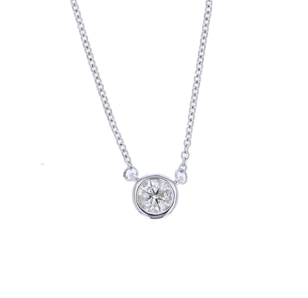 14K White Gold Bezel Set Round Diamond Pendant Necklace - Nazar's & Co.