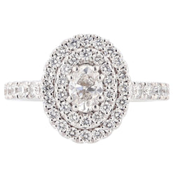 Nazarelle 14K White Gold Double Halo Diamond Engagement Ring, Rings, Nazar's & Co. - Nazar's & Co.