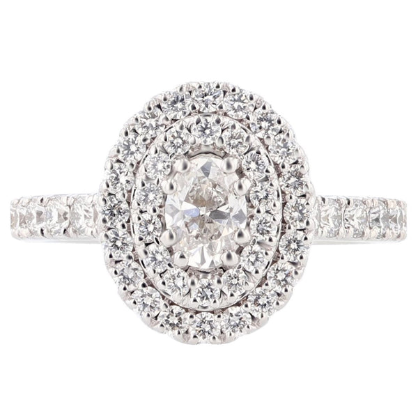 Nazarelle 14K White Gold Double Halo Diamond Engagement Ring - Nazar's & Co.