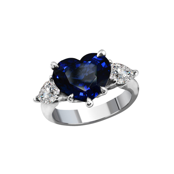 Platinum & Sapphire Heart Ring, Rings, Nazar's & Co. - Nazar's & Co.