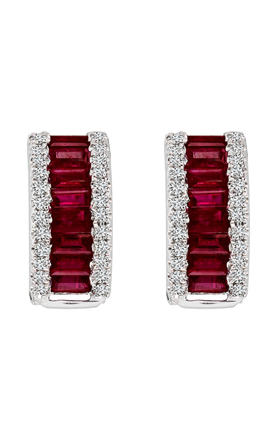 Ruby and Diamond Hoop Earrings, Earrings, Nazar's & Co. - Nazar's & Co.