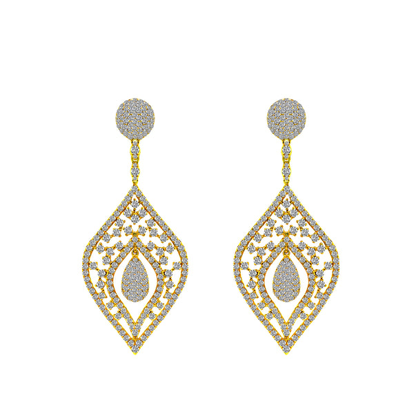18K Yellow Gold and Diamond Earrings, Earrings, Nazar's & Co. - Nazar's & Co.
