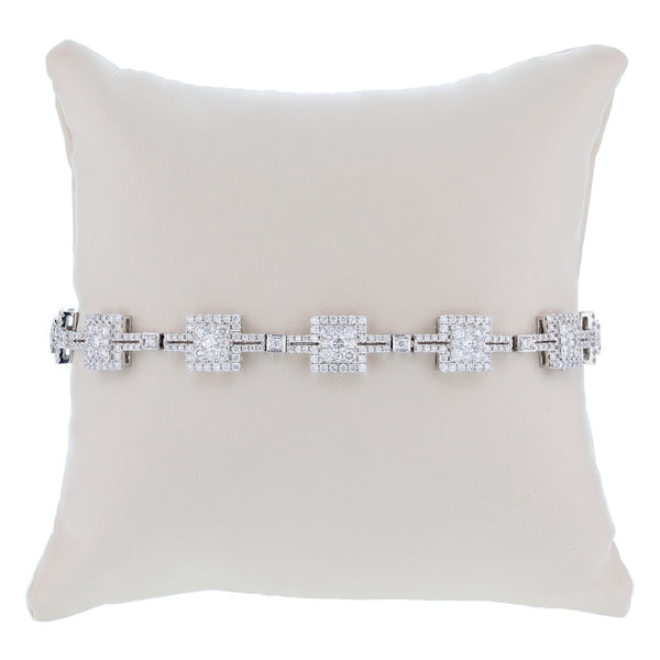 18K White Gold 5.30 Carat Diamond Tennis Bracelet - Nazar's & Co.