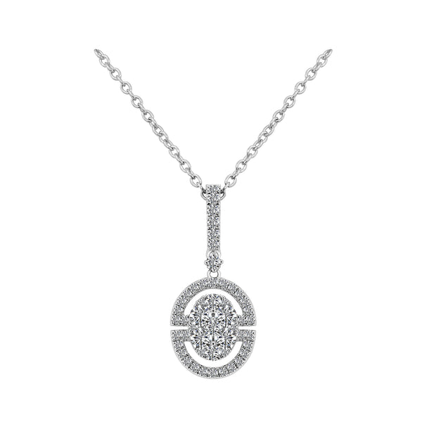 18K White Gold Diamond Pendant Necklace - Nazar's & Co.