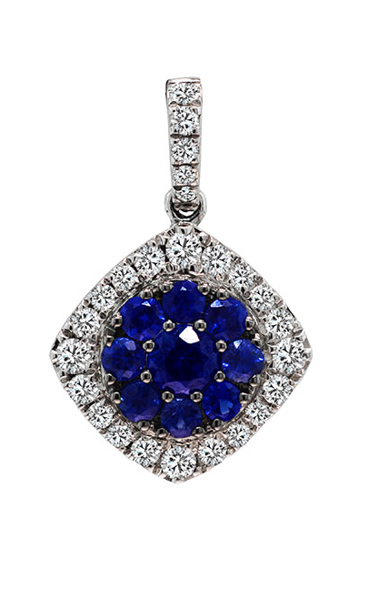 18K White Gold Sapphire and Diamond Pendant - Nazar's & Co.