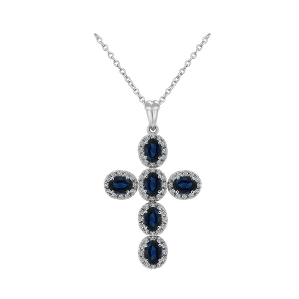 18K White Gold Sapphire and Diamond Cross Necklace, Necklaces, Nazar's & Co. - Nazar's & Co.