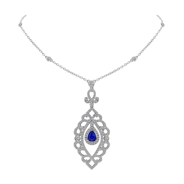 18K White Gold Sapphire and Diamond Pendant, Necklaces, Nazar's & Co. - Nazar's & Co.