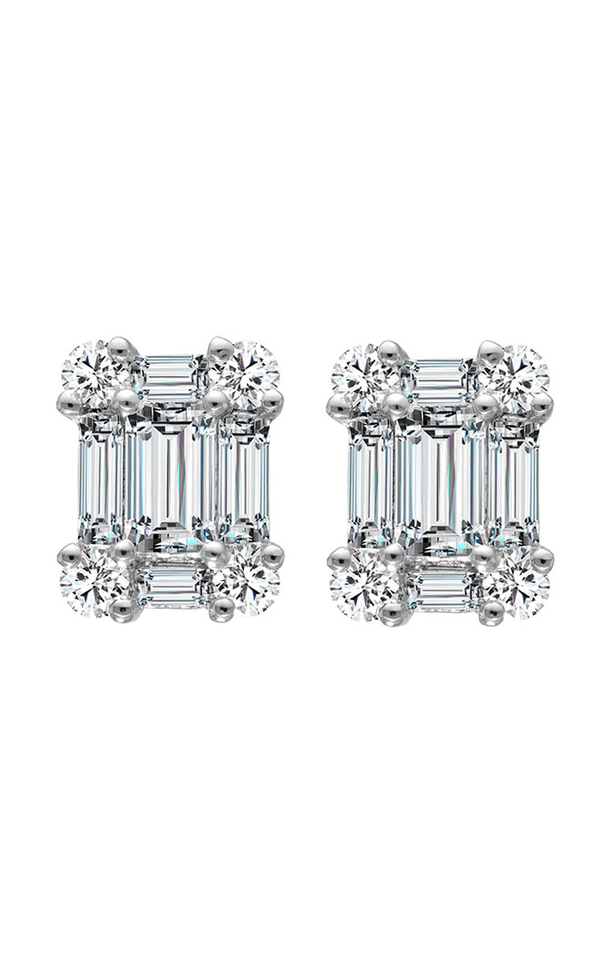 18K White Gold Diamond Stud Earrings, Earrings, Nazar's & Co. - Nazar's & Co.