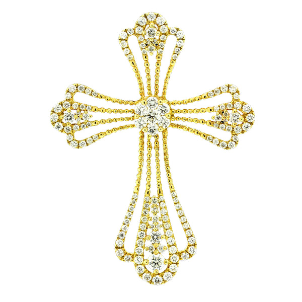 14K Yellow Gold Diamond Cross Pendant - Nazar's & Co.