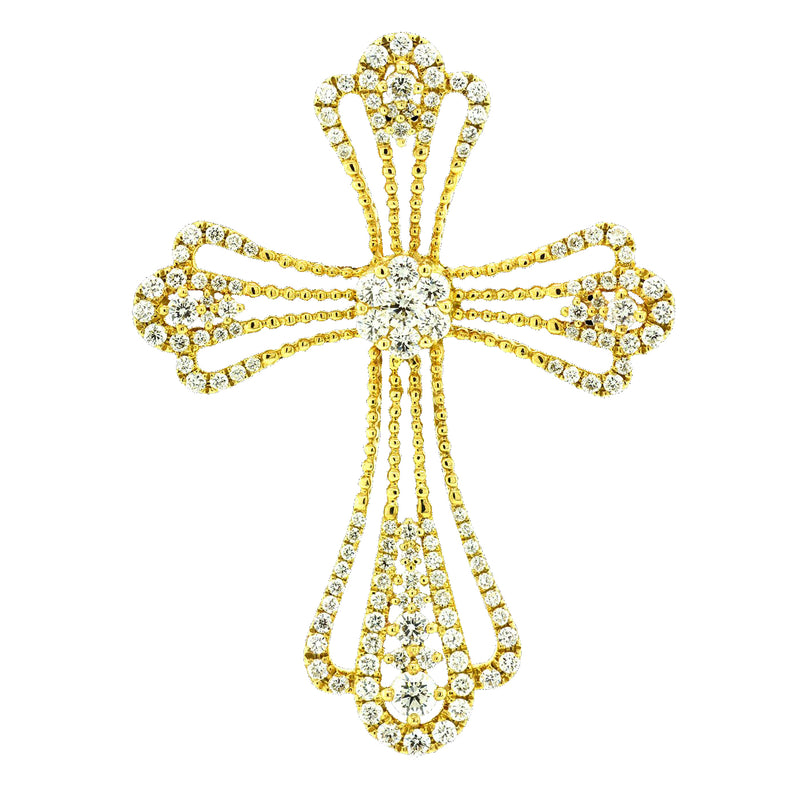14K Yellow Gold Diamond Cross Pendant, Necklaces, Nazar's & Co. - Nazar's & Co.