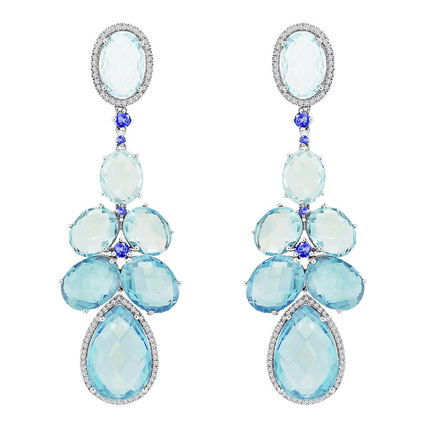 14K White Gold Blue Topaz Sapphire and Diamond Earrings - Nazar's & Co.