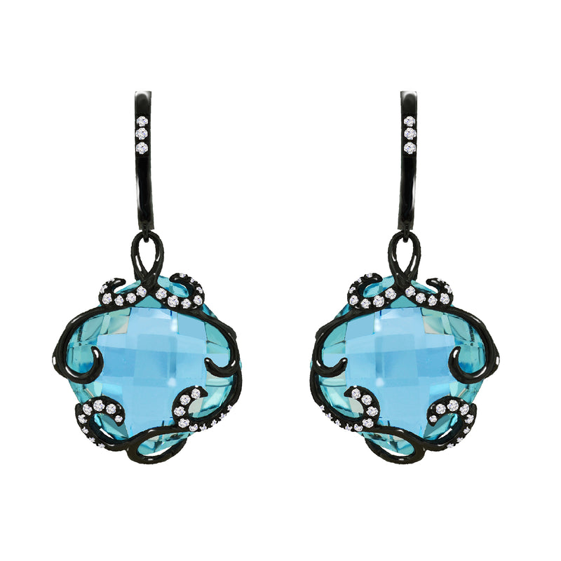 14K Black Gold Blue Topaz and Diamond Earrings - Nazar's & Co.