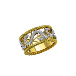 14K Yellow and White Gold with Diamond Ring, Rings, Nazar's & Co. - Nazar's & Co.